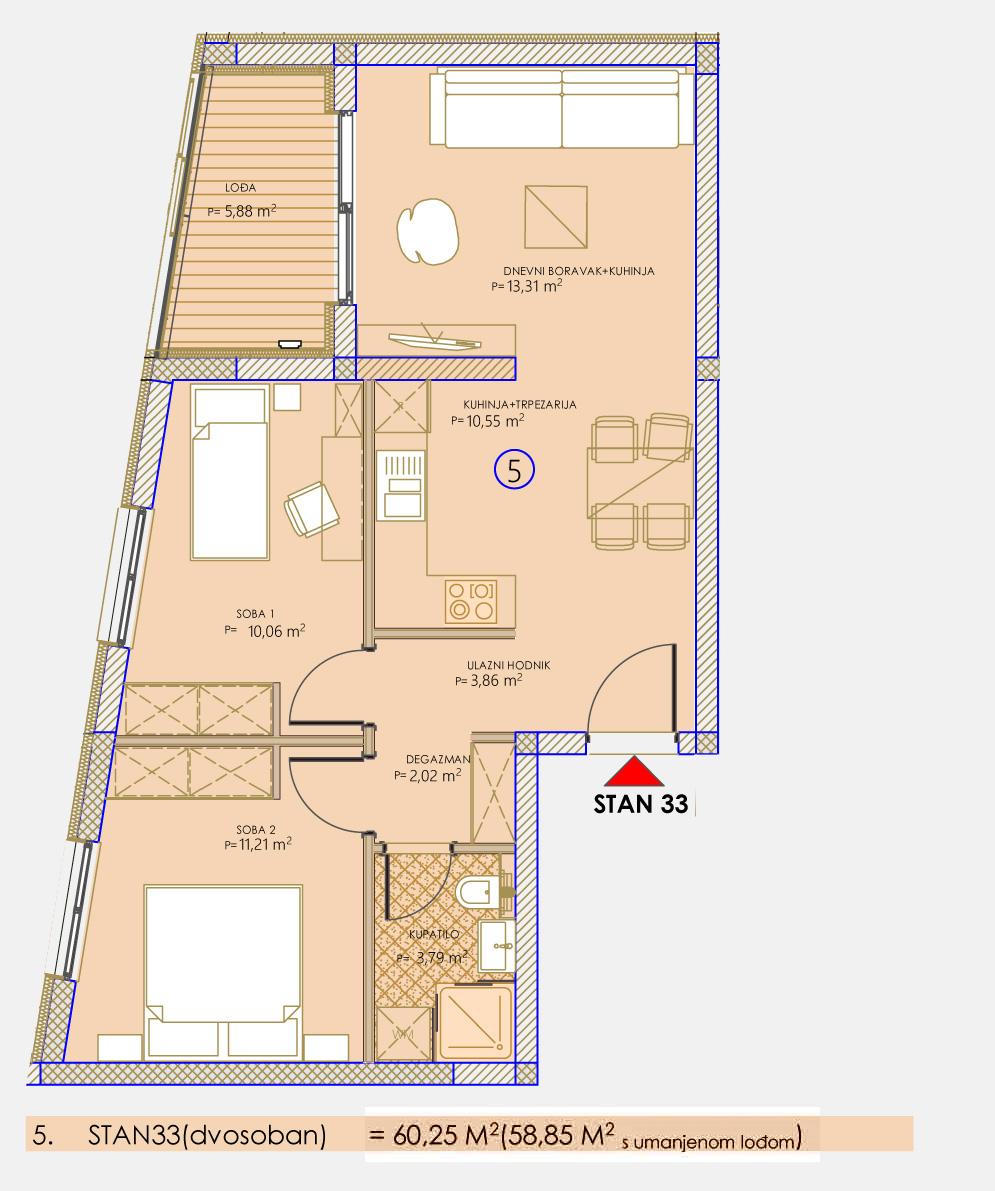 Dvosoban stan novogradnja 58.85 m2 Mostar